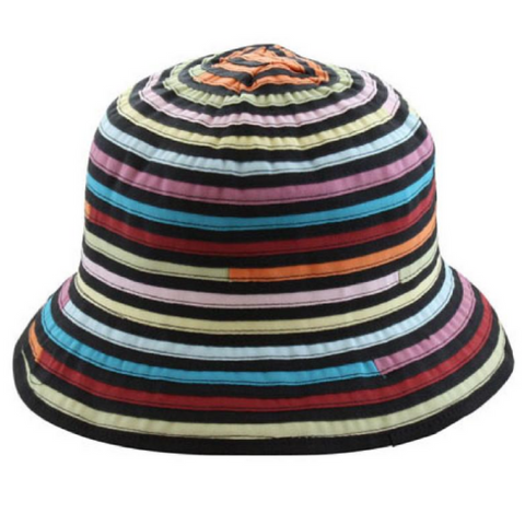 Rainbow Striped Bucket Sun Hat - Packable & Lightweight - RMOHATS