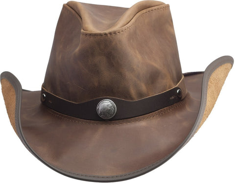 The Bison -  Waxed Leather - with Silver Nickel - RMOHATS