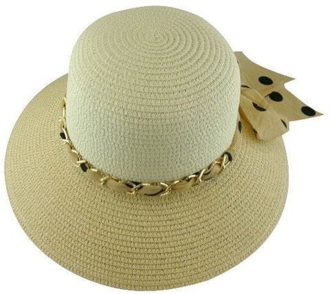 Ladies Fashion Sun Hat  - Polka Dot Woven Scarve - RMOHATS