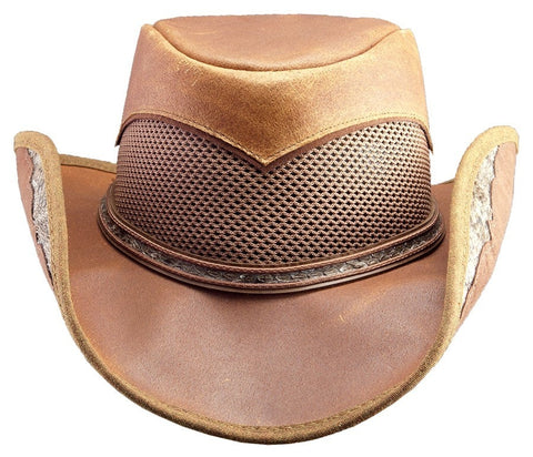 Cheyenne Antique Brown Leather with Rattle Snake Skin Trim - RMOHATS