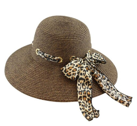 Wide Brim Sun Hat with Leopard Woven Scarf - RMOHATS