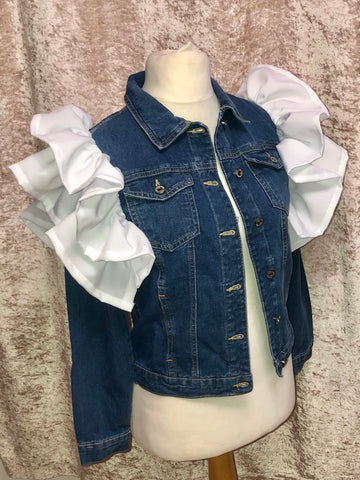 White ruffle denim jacket