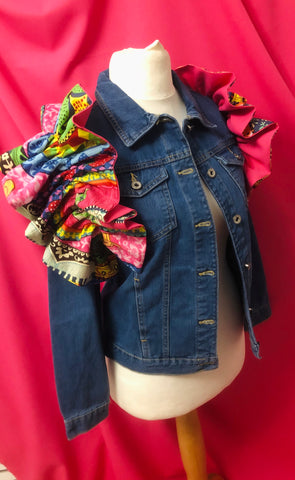 Denim jacket ethnic ruffle