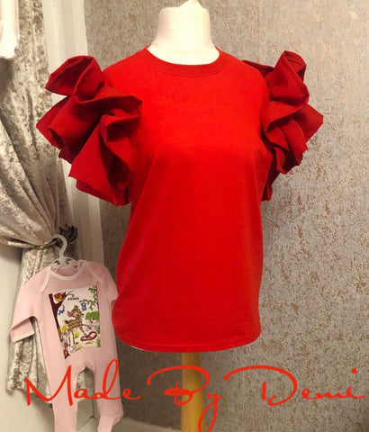 Children's Red ruffle tee ♥️