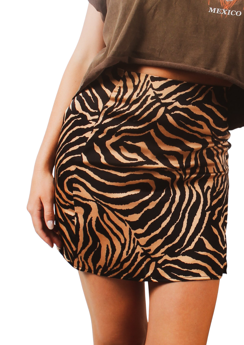 Zebra Mini Skirt- Brown Velvet