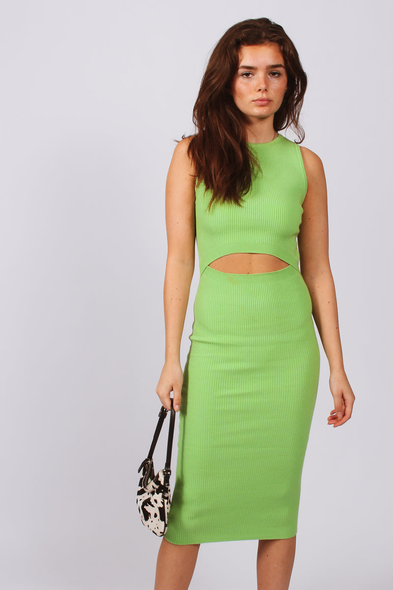 Abs Cut Out Ribbed Dress- Lime