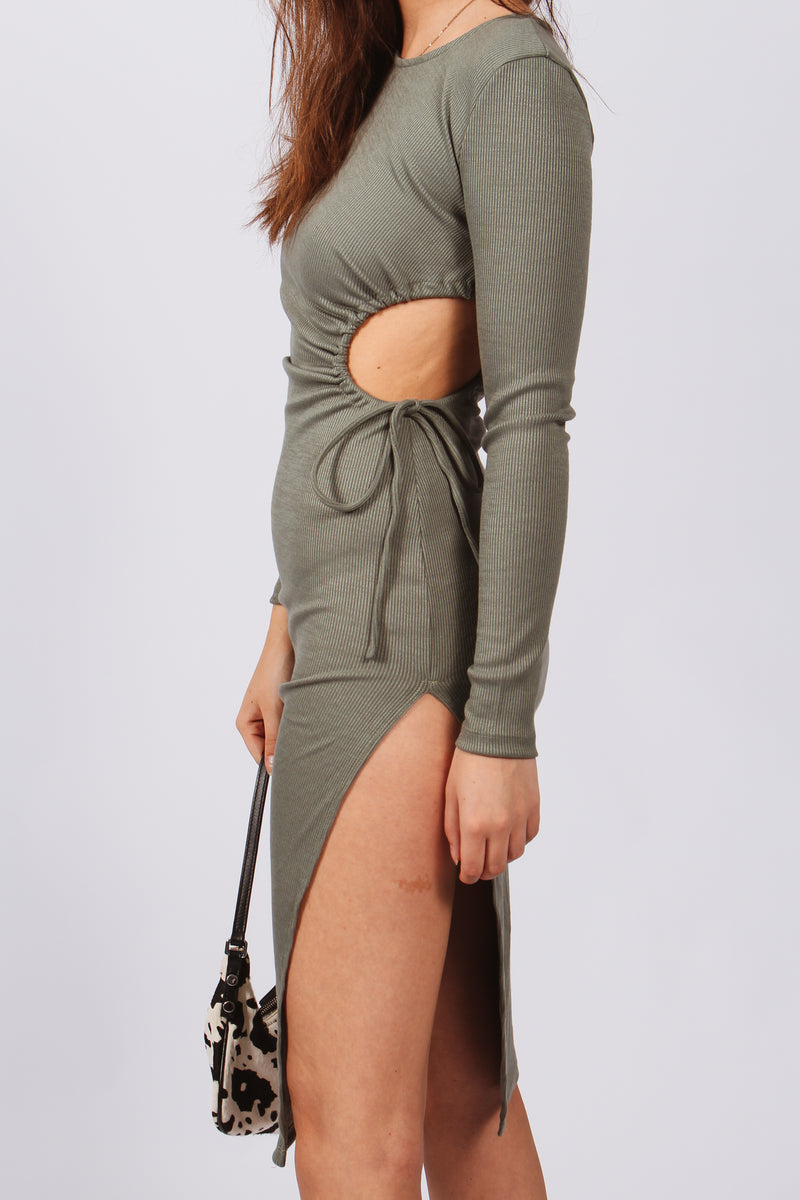 Kimmi Side Cut Out Ribbed Maxi Dress- Khaki