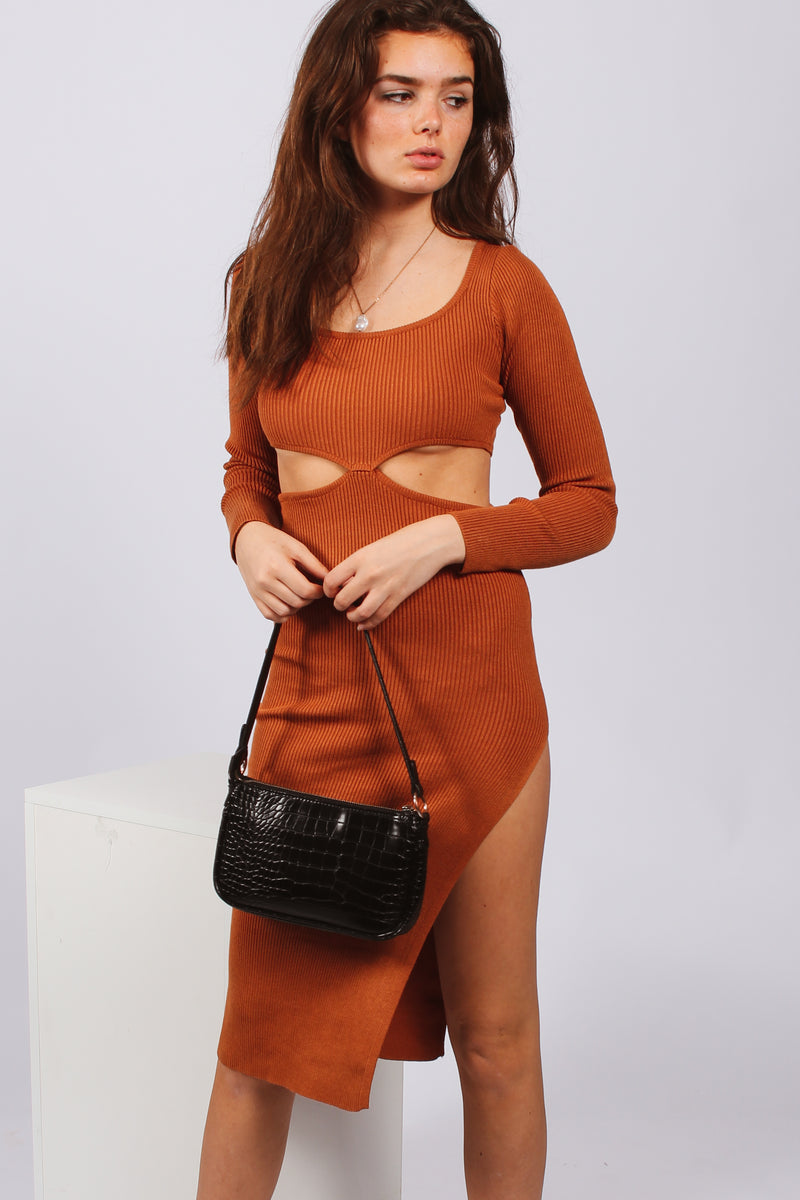 One Time ribbed longsleeve dress- brown