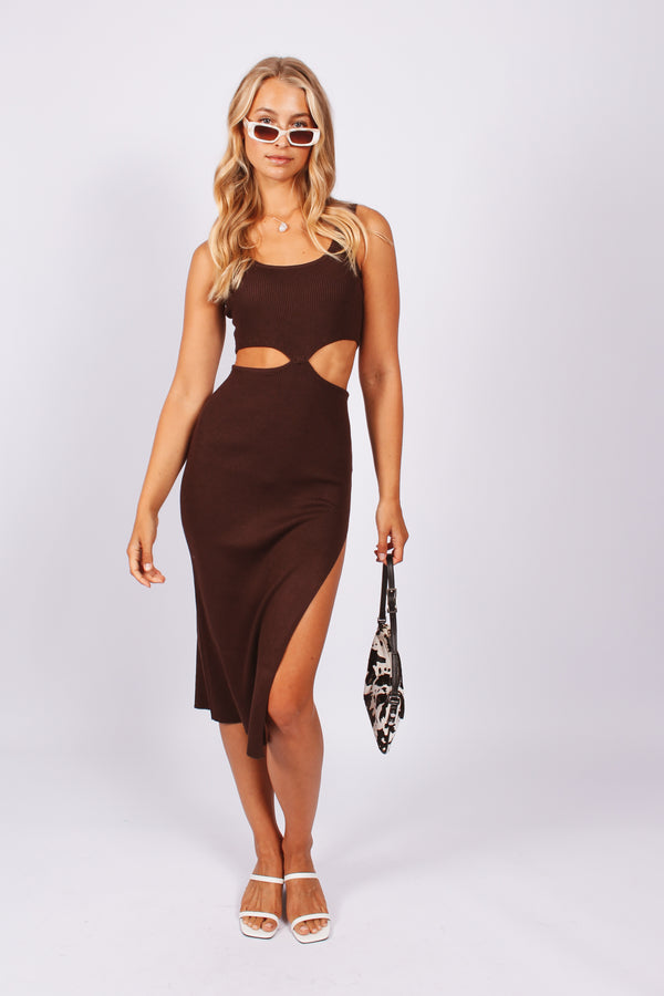 Scoop neck cut out dress- brown