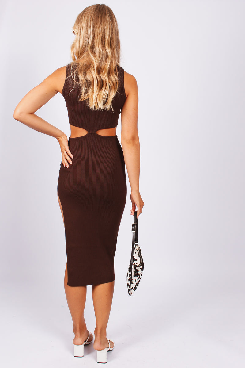 Modern Romance Cut Out Dress- Brown
