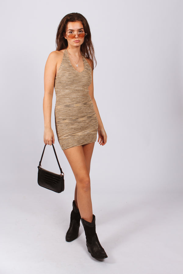 Gigi Knit Halter Dress- Beige