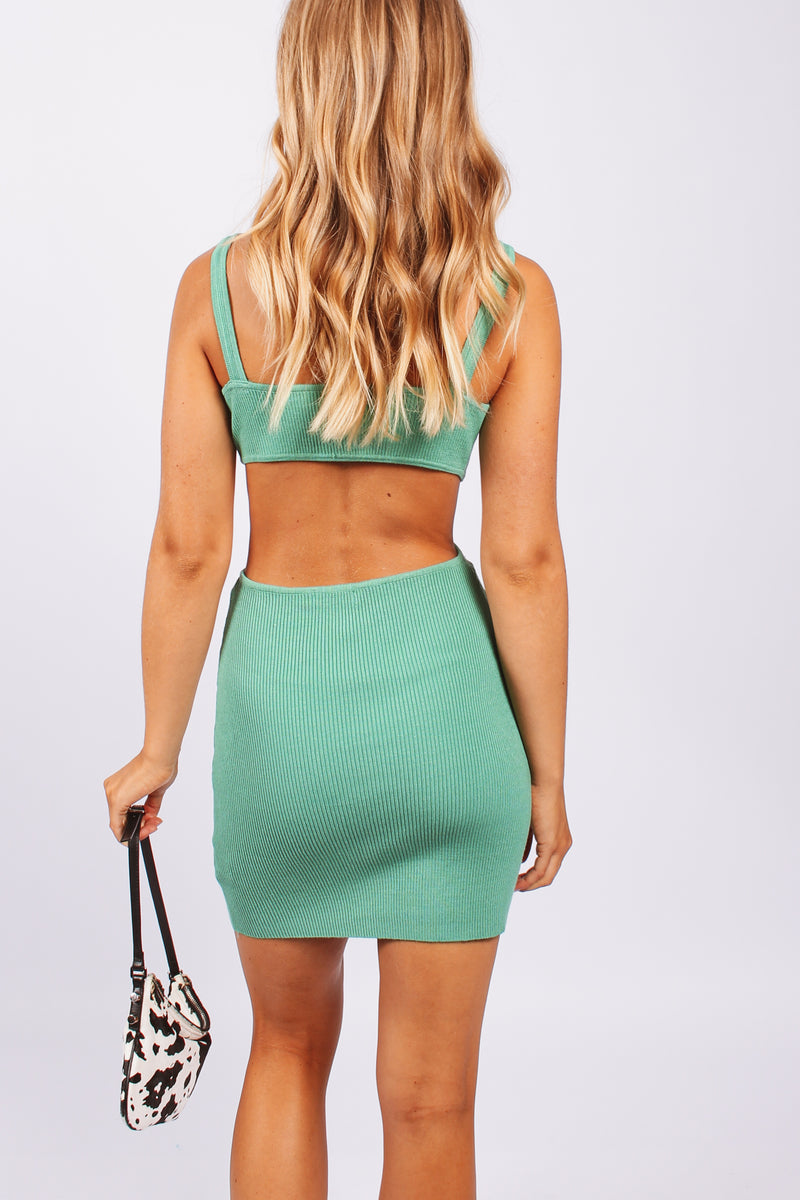 Knit cut out mini dress- Green