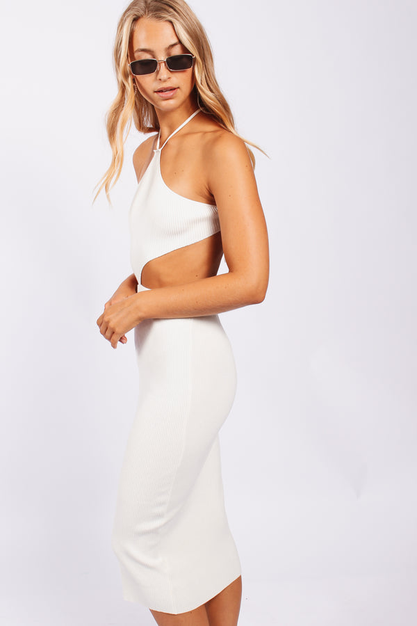 Triangle neck cut out dress- white
