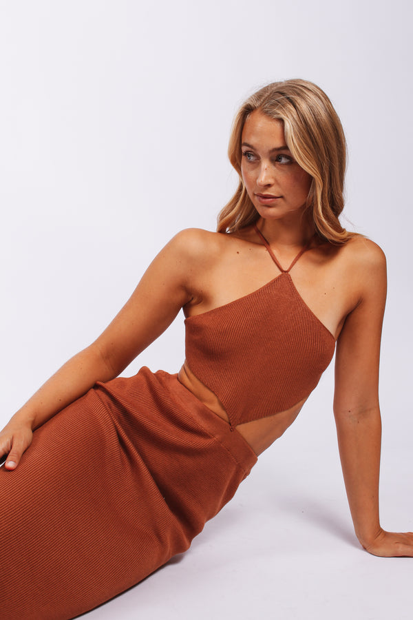 Triangle neck cut out dress- rust
