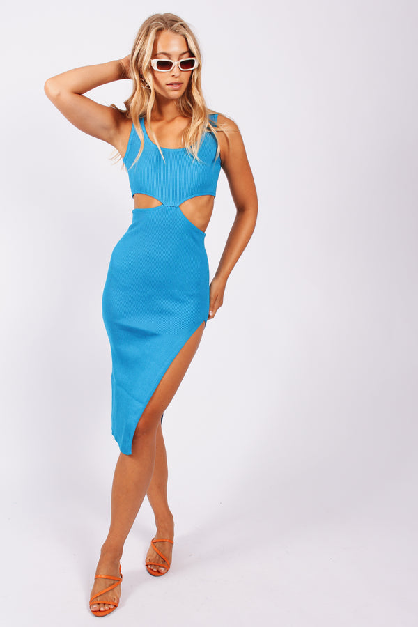 Modern Romance Cut Out Dress- Blue