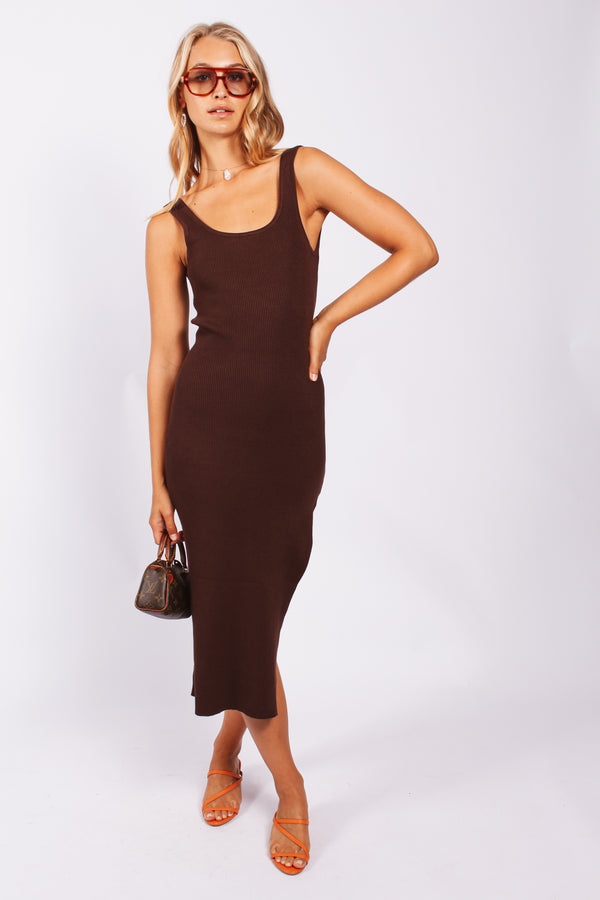 Twist back midi ribbed dress- chocolate brown