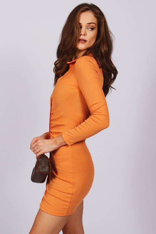 Lainey Button Down Long Sleeve Dress- Orange