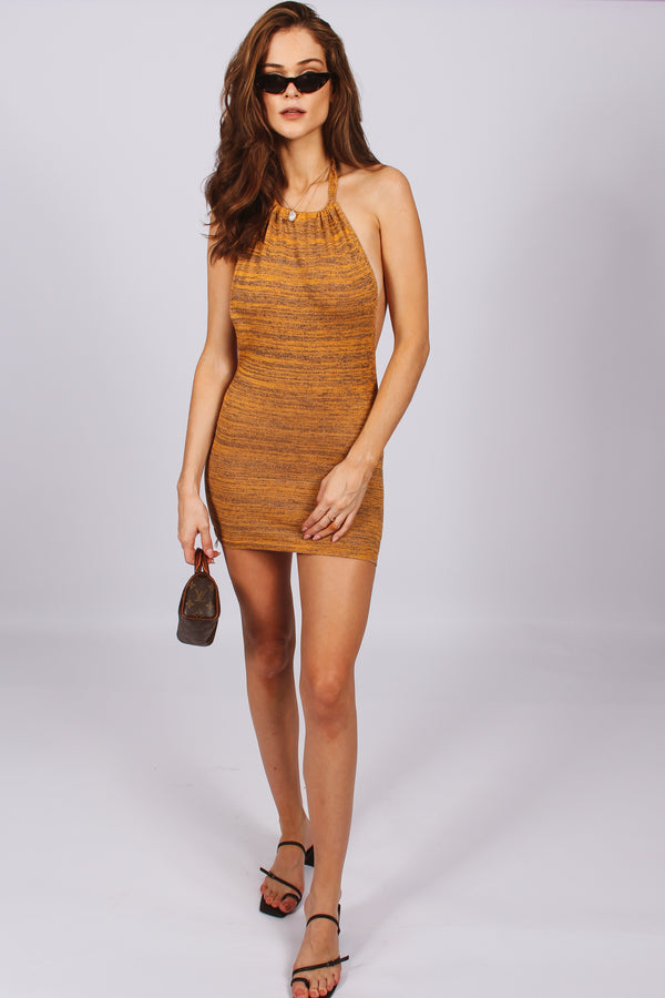 Saskia Knit Halter Mini Dress- Mustard