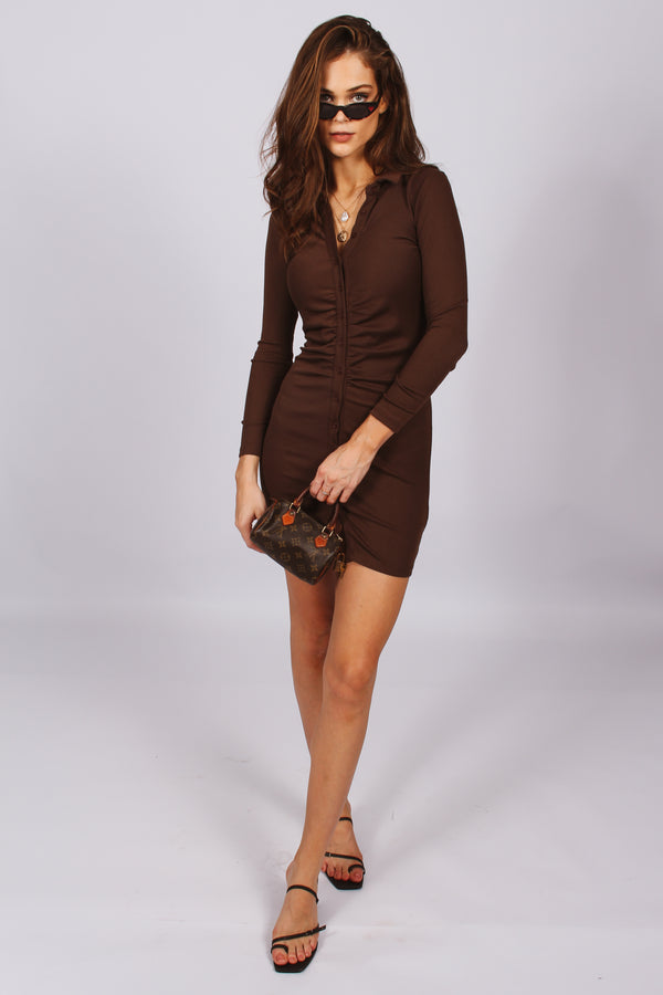 Lainey Button Down Long Sleeve Dress- Brown