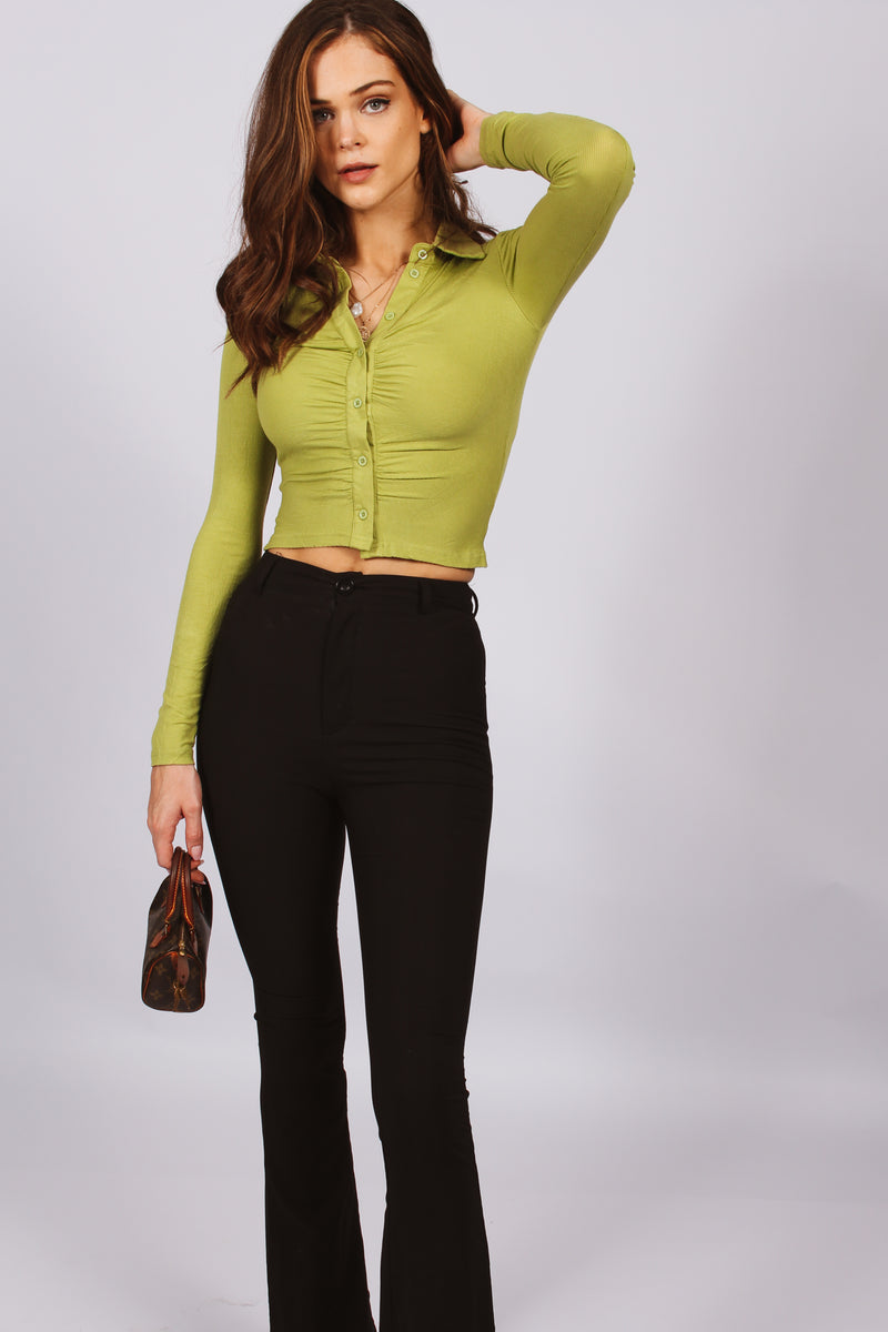 Halliday Ribbed Button Down Top- Green