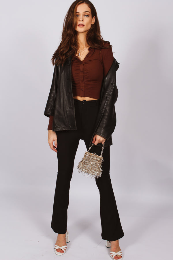 Halliday Ribbed Button Down Top- Brown