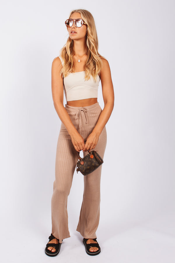 Ribbed knit pants-beige
