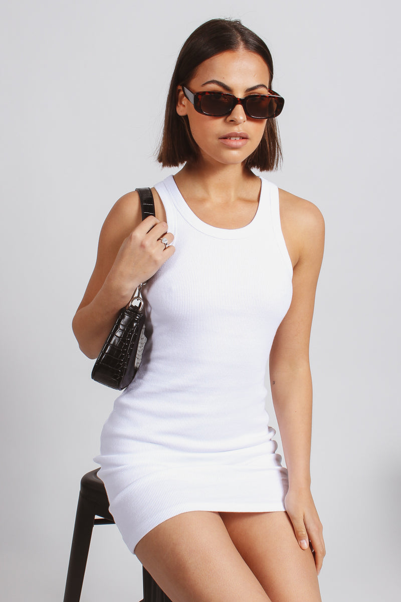 Ribbed dress-white