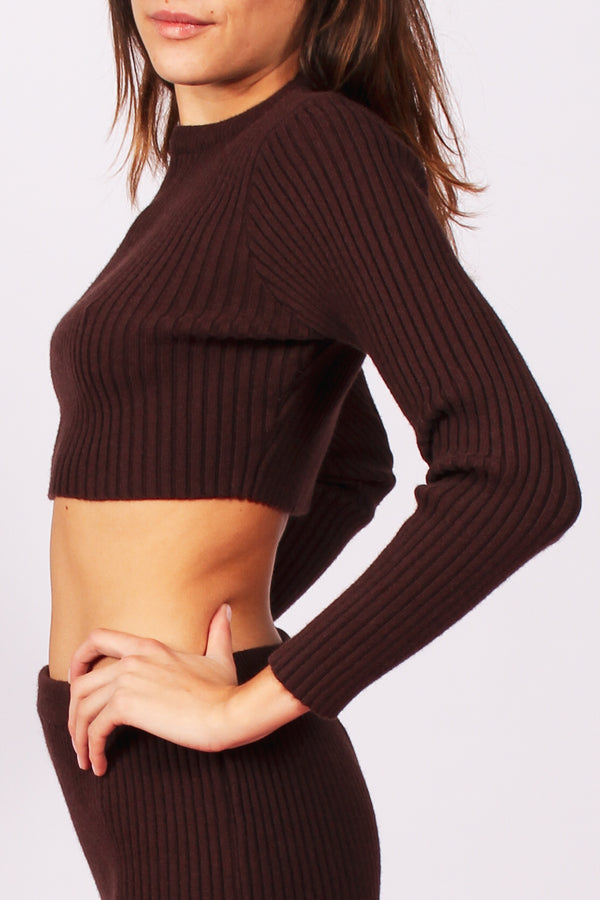 Riley ribbed cropped knit- Brown