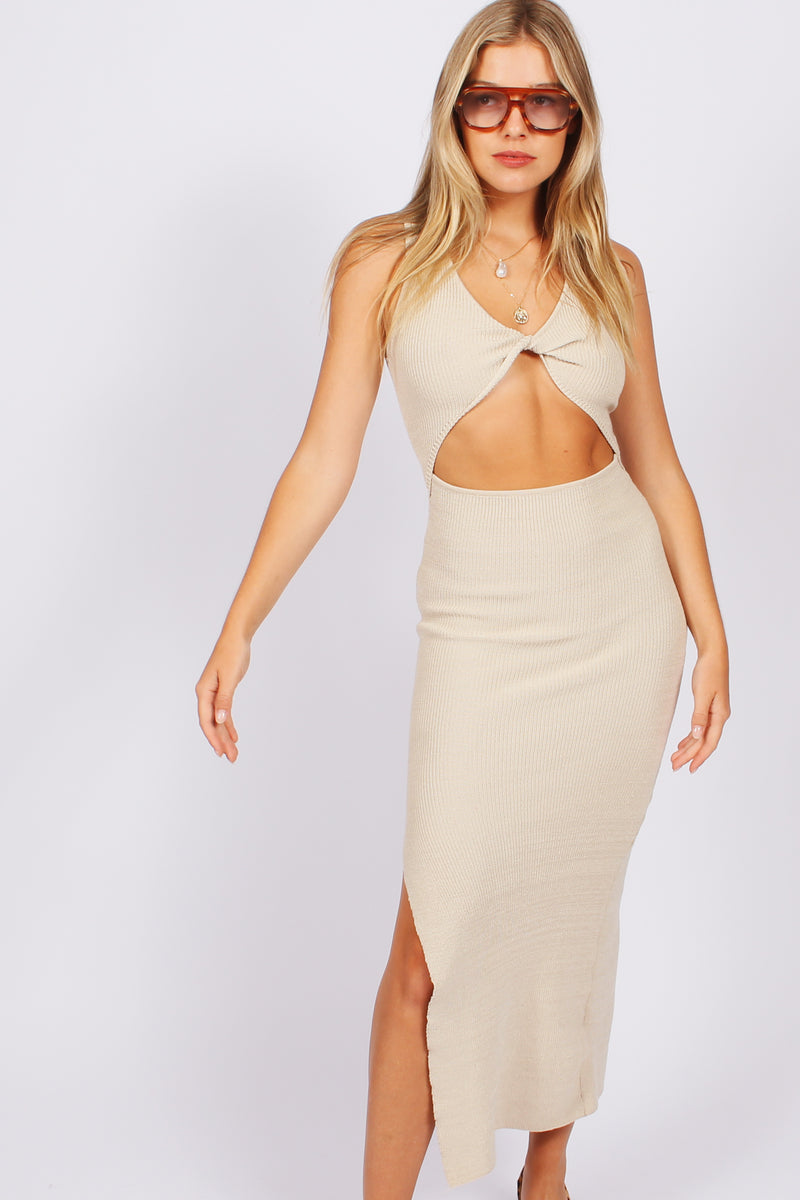 Capri Knit Midi Dress- Beige