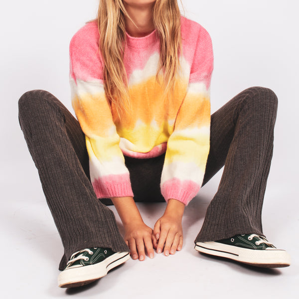 Oversized tie dye sweater- pink/yellow