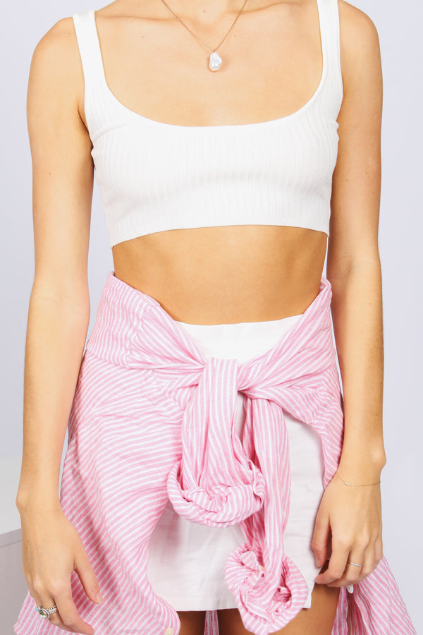 Ribbed Crop- White