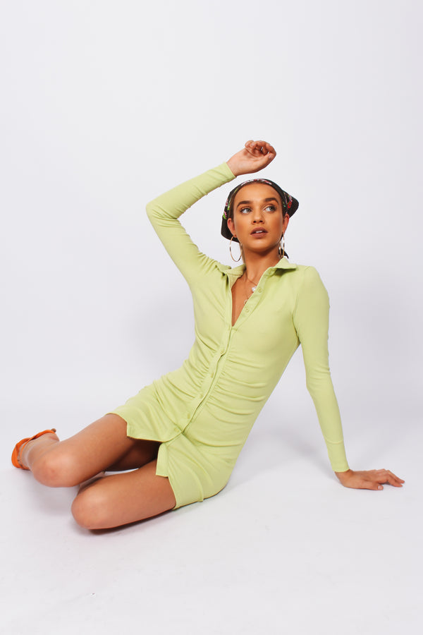 Lainey button down long sleeve dress- Lime