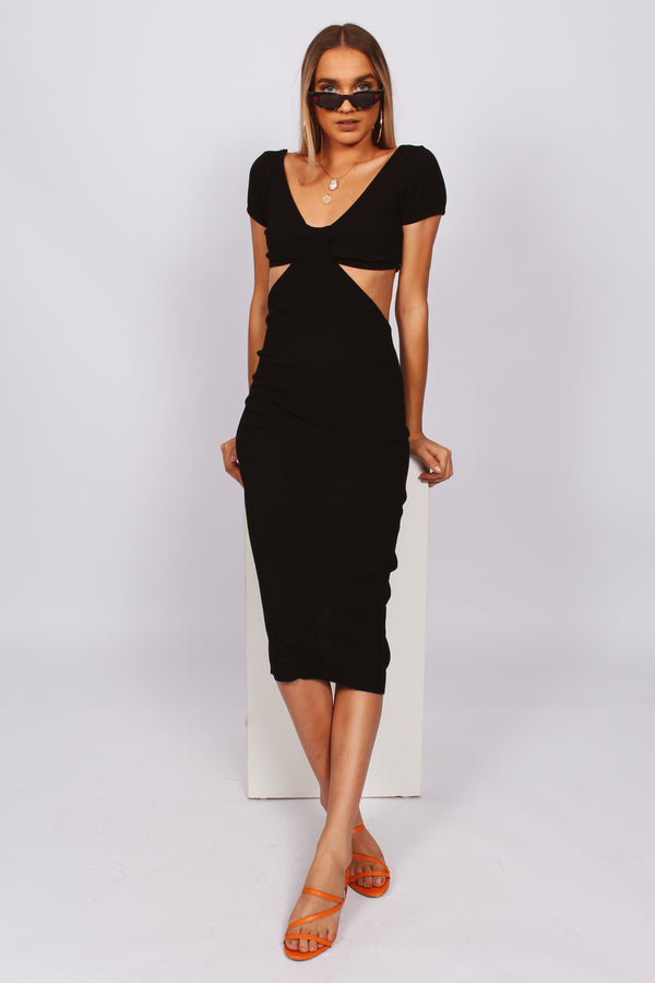 Paige Cut Out Maxi Dress- Black
