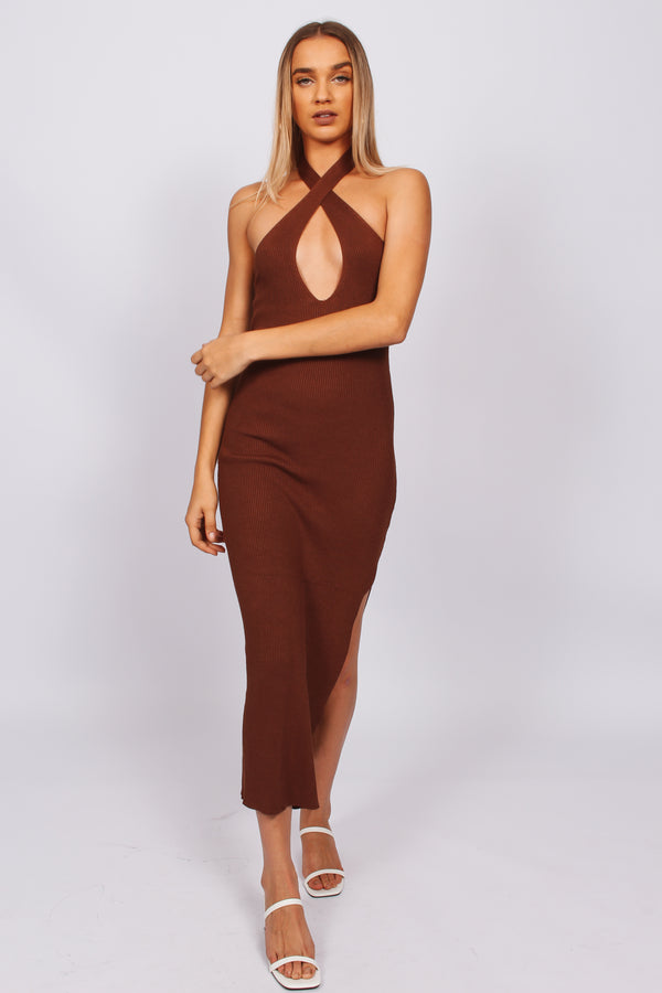 Lumier cross front midi dress- chocolate