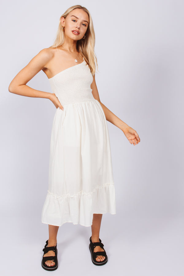 One shouldered rouched maxi dress