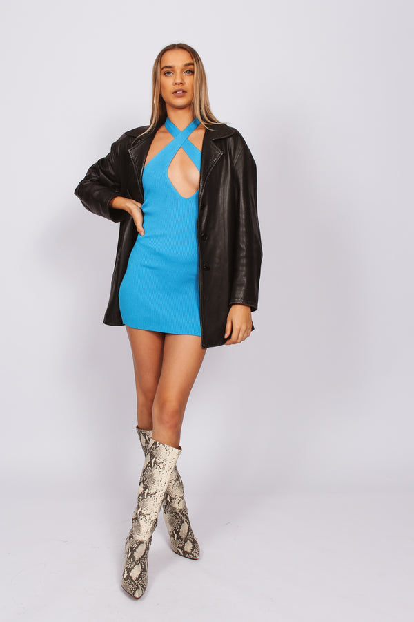 Sleepless Cross Front Mini Dress- Blue