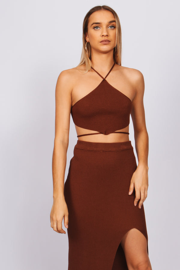 Knit maxi slit skirt- brown