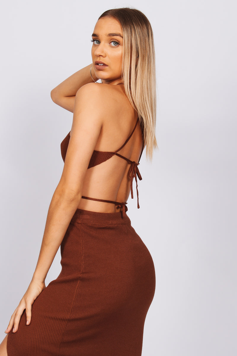 Soleil Tie Up Top- Brown