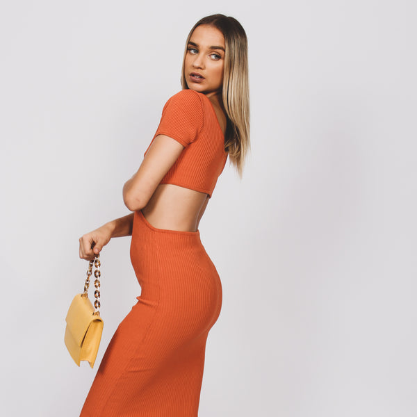 Paige Cut Out Maxi Dress- Orange