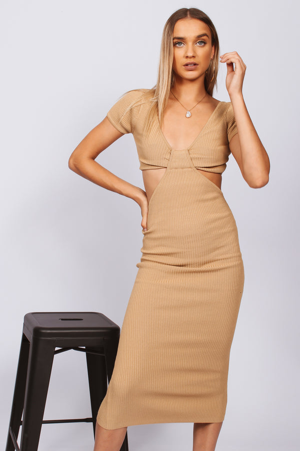 Paige Cut Out Maxi Dress- Beige