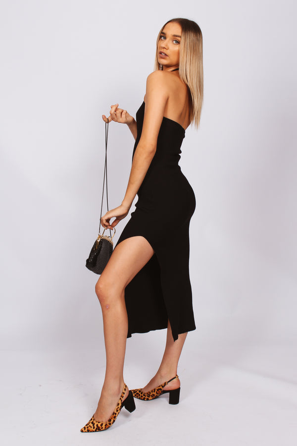 Lumier cross front midi dress- black