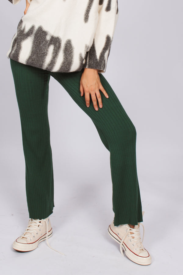Knit ribbed relaxed pants- emerald