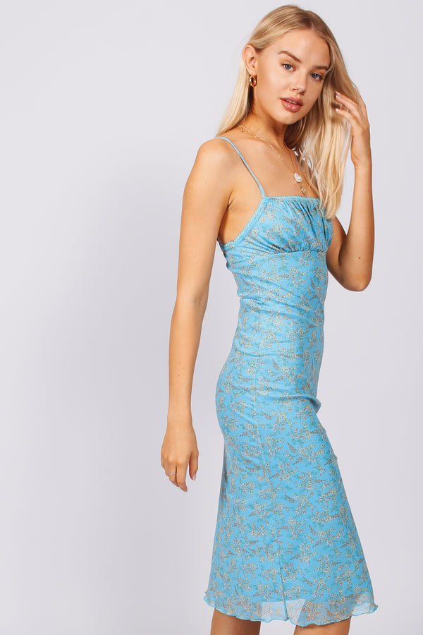 Spingtime Midi Dress- Blue