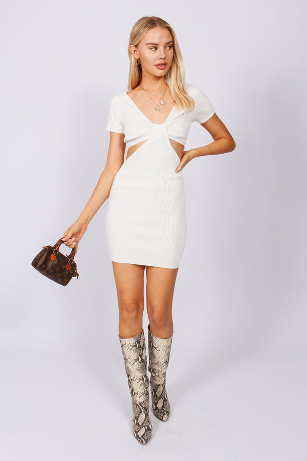 Ribbed cut out dress- White