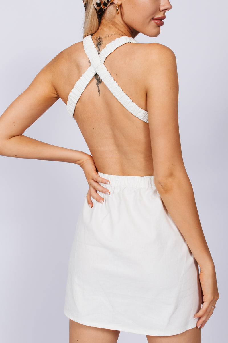 Lover cross back linen dress- white