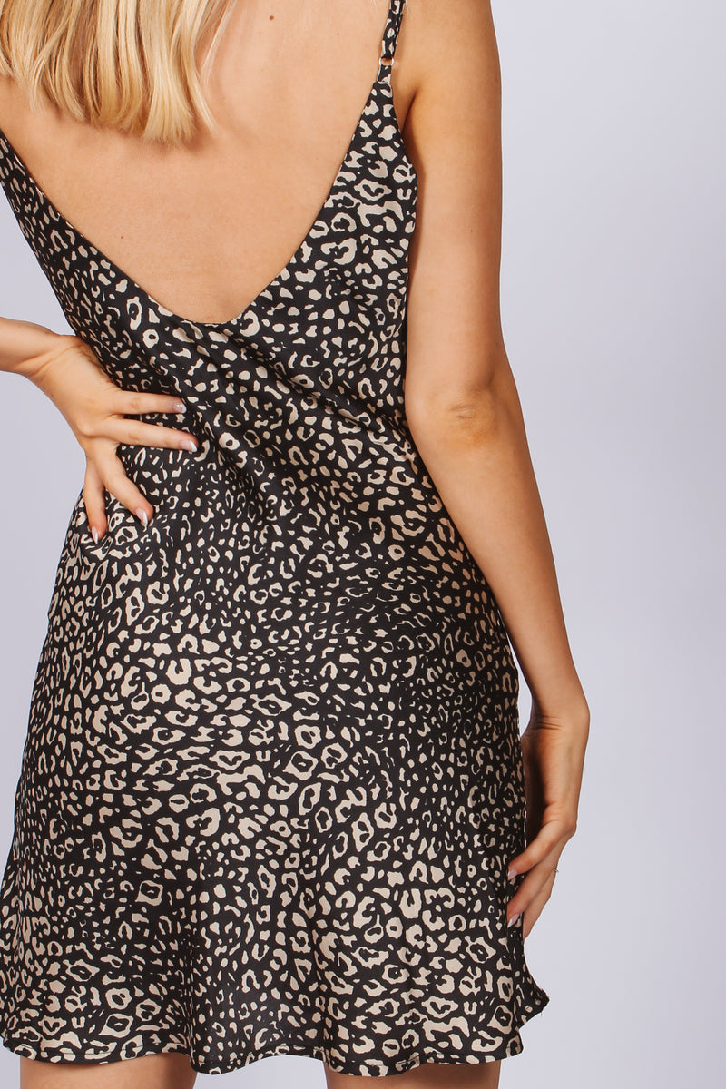 Silk Mini Leopard Slip Dress- Dark