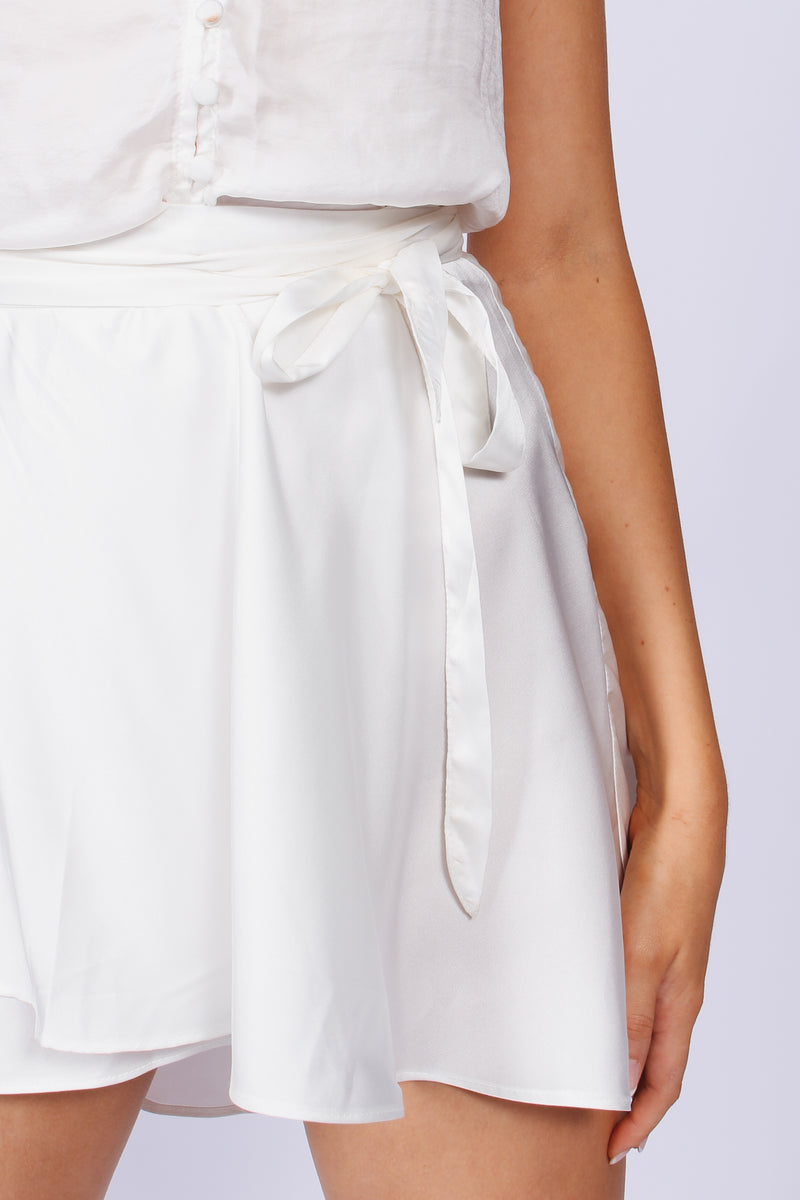 Silk mini wrap skirt- White