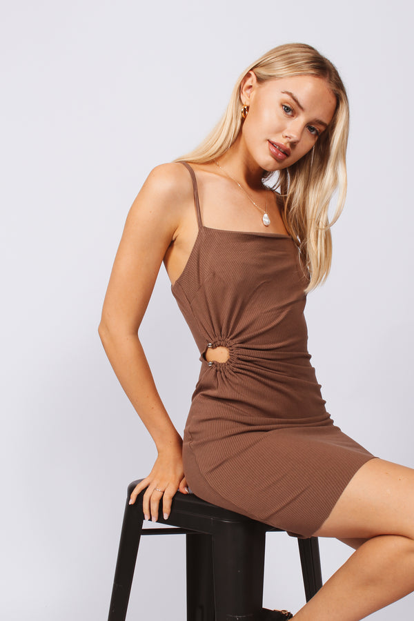 Knit mini dress- Brown