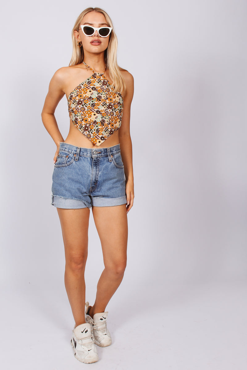 Exotic print triangle top- brown