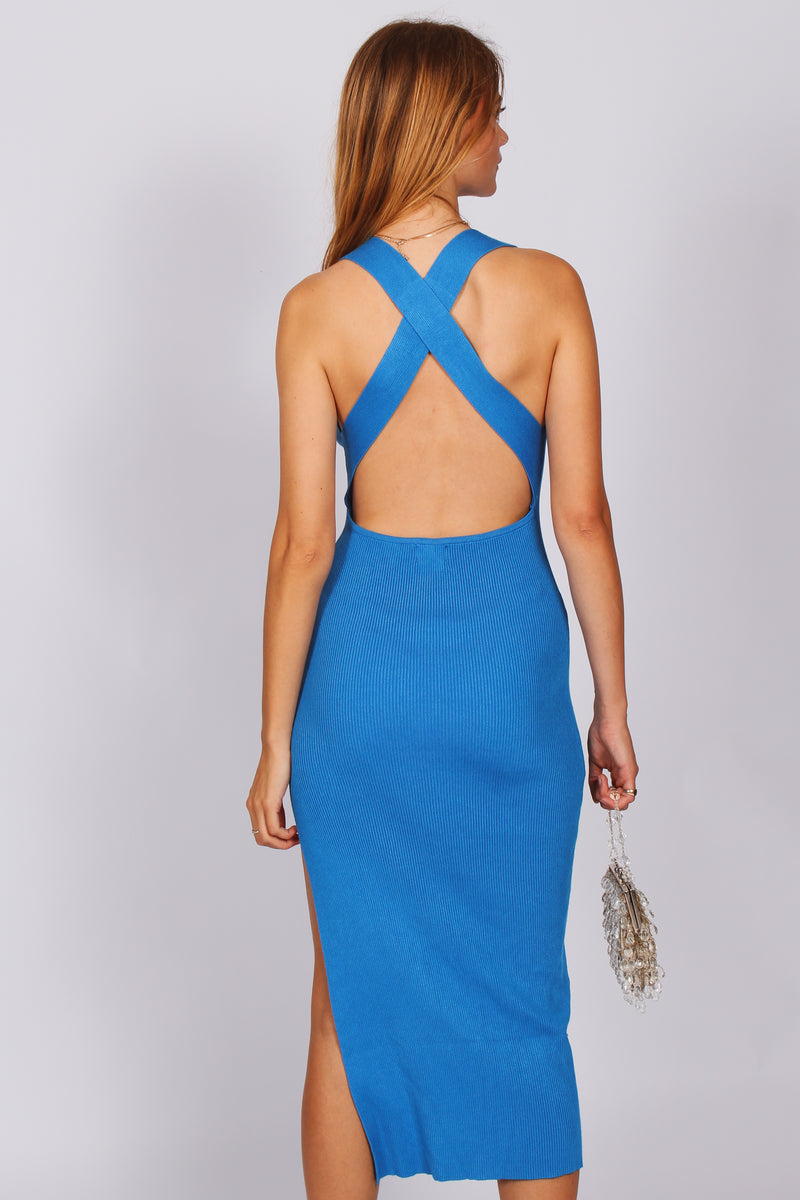 Francis Cross Back Midi Dress- Blue